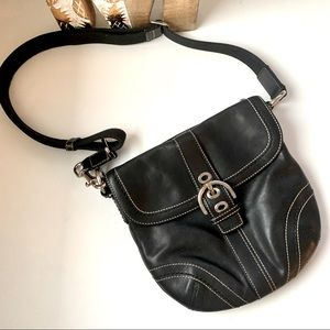 Coach Black leather cross body purse Y2K